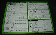 Inspektionsblatt Toyota Camry Diesel CV20 Werkstatt Service Blatt Stand 08/1990