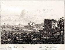 Bacoli:Baia:Tempio di Venere,Castello Aragonese.Audot.Acciaio.Stampa Antica.1835