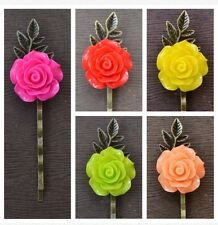 5 Wedding Hair Accessory Bridesmaids Cute Rose Bronze Bobby Pin Hair Grip Clip