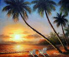 Hawaii Island Sunset Couple Beach Chairs Palm Trees 20X24 Oil Painting STRETCHED