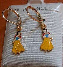 14K Gold Fill Disney Snow White hanging Earrings / Teenager Children / USA