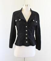 White House Black Market Black Button Front Blazer Jacket Knit Size 4 Collared