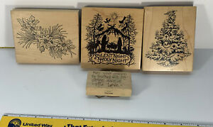 PSX CHRISTMAS ASSORTED SET OF 4 WOOD RUBBER STAMPS