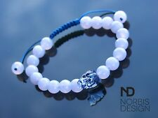 Men/Women Blue Lace Skull Bracelet with Swarovski Denim Crystal 7-8inch Macrame