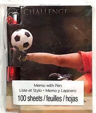 """CHALLENGE MEMO JOURNAL SKETCHBOOK w/PEN 3.5""""x4.5"""" Inspiration Motivation SOCCER"""