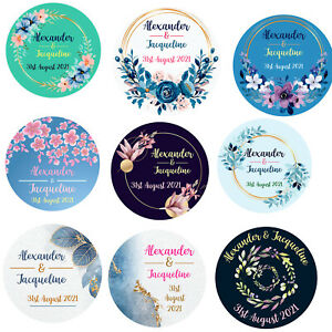 Personalised Wedding Stickers Floral Round Labels 37mm Engagement Mehndi