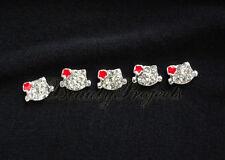 5pcs nail art red 3D kitty cat face rhinestone charms acrylic nails gel A104