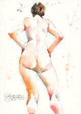 Original Aquarell Akt Gemälde Watercolour Female Nude Art Erotic Painting 05