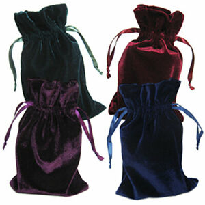 """NEW Set of 4 Velvet Bags 6x9"""" Drawstring Pouch for Dice or Cards - Dark Colors"""