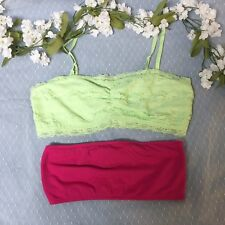 2 Bralettes - Mudd Green Lace & Forever 21 Pink Bandeau (Size Medium)