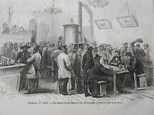 Gravure 1866 - Amérique du Nord Une maison de jeu ville de Colorado