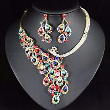 Peacock Austrian Crystal Rhinestone Bib Necklace Earrings Set Bridal Prom N66m