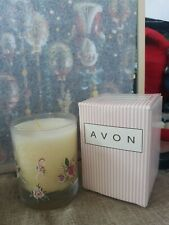 New Avon Pink Ribbon Scented Fragrance Glass Candle Dated 1999 Vintage