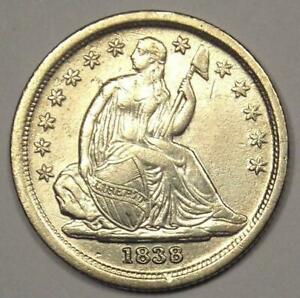 1838 Seated Liberty Dime 10C Coin - Sharp AU / UNC Details - Rare Date!