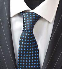 Tie Neck tie with Handkerchief Black with Electric Blue Spot