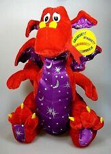 Six Flags Red Purple Dragon Silver Stars N Moon Plush Stuffed Dragon peluche animal