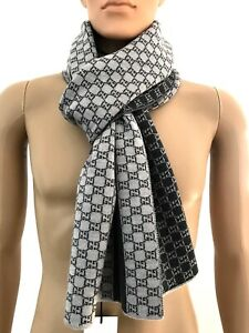Gucci Men's Luxury Logo Gg Scarf Grey Wool Gg all Over Scarf Wool Gray New