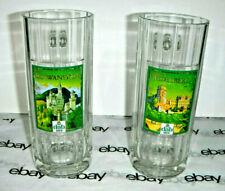 German Pair Tall Glass Beer Mug DAB Bier Neu-Schwanstein&Schloss Heidelberg 0.5L