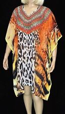 Sheer Embellished Kaftan Tunic  Digital Printed Size 16-18-20-22 Free Post Aus
