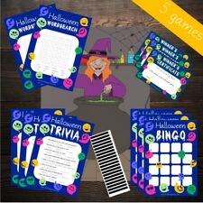 5 GAME HALLOWEEN PARTY PACK - PIN THE WITCH, BINGO, TRIVIA - Costume Mask Prop