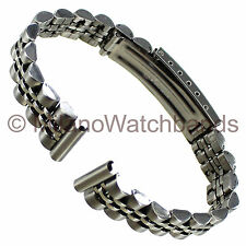 12mm Name Brand Straight End Fold Over Clasp Stainless Steel Ladies Watch Band