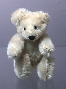 """Early Antique STEIFF 3.5"""" Miniature Jointed White Mohair Bear Glass Eyes"""