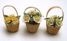 lot paniers avec fleurs miniature,maison de poupée,vitrine,jardin G-T4 *01