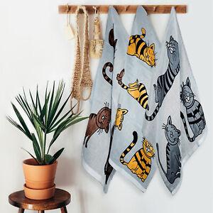 3er Set 100% Baumwolle zweiseitige Badetücher 100x50cm Handtücher Katzen