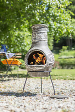 Clay Chimenea with Leaf Decor Clay Chiminea Clay Patio Heater Fire Bowl Fire Pit
