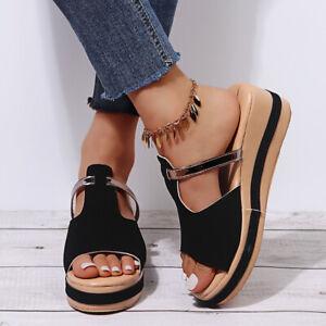 Womens Wedge Sandals Slip On Open Toe Summer Casual Platform Heel Shoes Slippers