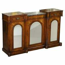 LOVELY VICTORIAN WALNUT MARQUETRY INLAID CREDENZA SIDEBOARD MARBLE TOP MIRRORED