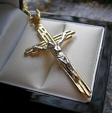 GENUINE STAMPED 18CT GOLD FILLED CROSS CRUCIFIX ON CHAIN from 9ct-gold-bling 31