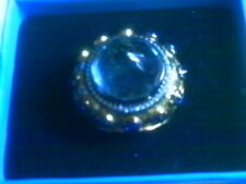 LONDON BLUE TOPAZ W/ SAPHIRES MOON GOLD PLATED SOS 925 TURKEY HUGE RING 7