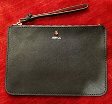Mimco Black Leather Supermicra Rose Gold Medium Pouch Clutch Wallet Purse BNWT