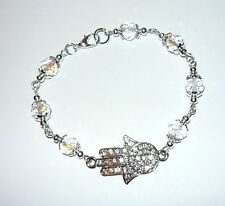 Hermoso Brillante Cristal Perla Y Diamante Mano Hamsa Pulsera de eslabones
