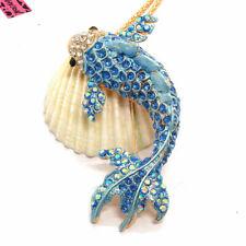 Hot Bling Cute Blue Goldfish Fish Crystal Pendant Betsey Johnson China Necklace