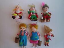 Lot of 6 Vintage Christmas Ornaments, Jack & Jill, Little Miss Muffet, Pinocchio