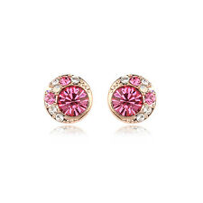 GORGEOUS 18K ROSE GOLD PLATED GENUINE PINK CZ & AUSTRIAN CRYSTAL STUD EARRINGS