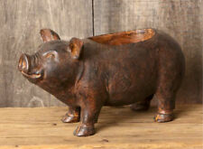 Cute Pig Planter, Brown, Polyresin, Rustic Finish with Adorable Face