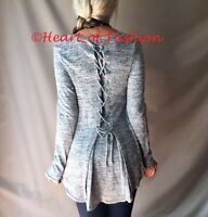 Women's Marbled Lace Up Back Hi-Lo Relaxed Long Sleeve Knit Tunic Sweater Top