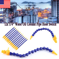 """12x 1/4"""" Flexible Plastic Water Oil Coolant Pipe Hose for Lathe CNC w/Switch USA"""