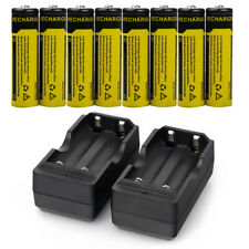 8pc BRC 18650 Battery Li-ion 3.7V Rechargeable Batteries +Dual Charger for Torch