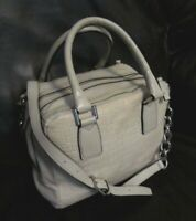 MARC FISHER Gray Taupe KYRA Croc Embossed Leather Satchel Bag Classy Purse EUC