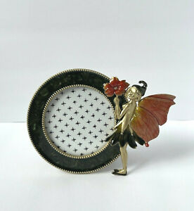 """Z Gallerie Round Enamel and Gold-Tone Fairy Photo Round Frame - Holds 3"""" - NEW"""