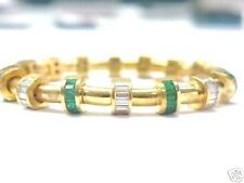 Charles Krypell Diamond Emerald 18KT Bracelet Yellow Gold