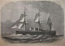 SAILING SHIP HMS BELLEROPHON CHATHAM ENGLAND 1866 ILLUSTRATED LONDON NEWS