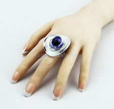 BACCARAT MYSTERE LARGE SILVER WITH PURPLE RING SIZE 53 6,5 US NEW FRANCE