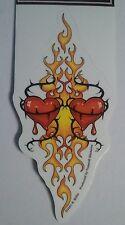 "(#165) TRIBAL FLAMING HEARTS 3"" x 6"" die-cut window sticker decal (Y855) Biffle"