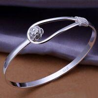 fashion WOMEN 925 cute silver plated flower wedding bangle bracelet jewelry hot