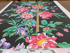 "A.L.DIAMENT & CO ""PEONIES JET BLACK UK HAND PRINT FABRIC RARE LARGE SCALE CHINTZ"